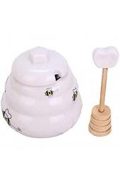 Alacritua Honigtopf aus Porzellan Honigglas mit Schöpflöffel Honigtopf mit Deckel und Honignehmer für Hausküche Porzellan-Honigbehälter für die Lagerung