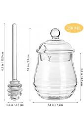 BESTonZON 250 Ml Honigglas mit Schöpflöffel Und Deckel Transparentes Glas Honigbehälter Honigtopf Honigglas Honigspender für Die Wohnküche 265 Ml 9 Unzen