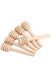 Bewinner 50 Pcs/Satz Tragbare Mini Holz Marmelade Honiglöffel Rührstab Stick Honigbehälter für Honig/Sirup/Melasse/viskosen Flüssigkeiten mit einzigartigem Dipper Design(8cm)