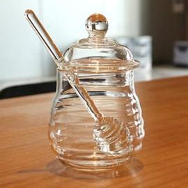 Cabilock Honigglas 250 ml Honigglas aus Kristallglas mit Schöpfkelle und Deckel Marmeladenglas transparent für Hausküche (transparent)