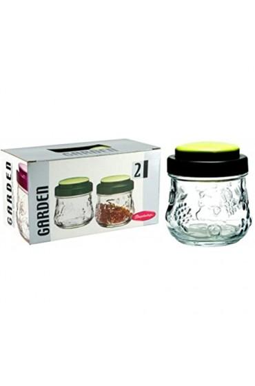 Dajar Garden 2 Einmachgläser 250ml Pasabahce Glas transparent Grün 8 6 x 8 1 cm 2 Einheiten