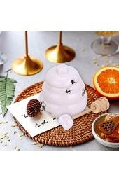 Fikujap Mini-Keramik-Honigtopf mit Schöpflöffel-Geschenk-Bienenstock-Honigtopf für den Laden Honig und Sirup (weiß)
