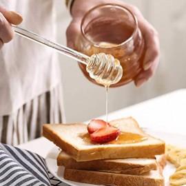 Hemoton Glas Honig Schöpflöffel Honig Stick 6 Zoll Wiederverwendbare Glasrührer Kaffee Rührstäbchen Rührstangen Biene Honiglöffel Rührschaufel für Honigtopf Glas