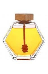 Honigtopf Glas Honigglas Honigspender Sirupspender Honigglas mit Holzlöffel und Korkdeckel geeignet für Zuhause Küche transparent (200 ml)