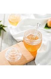 Rosvola Honigglas mit Tropfstift Bienenstock-förmiges Honigglas Abgabe von Honig Transparentes Honigglas zum Tropfen von Honig