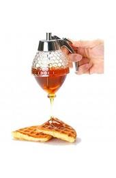 Tokenhigh Honig Spender Tragbar Acryl Honig Jar Container Honig Spender Honigspender Sirup Saft Acryl Honig Jar Container Quetschflasche Honigbehälter Aufbewahrungsbehälter mit Ständer(200ml)