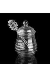 Y-POWER Honigglas mit Dipper und Deckel aus Glas - hitzebeständiger Bienenstock-Honigtopf zur Aufbewahrung von Honig und Sirup