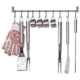 HOMFA Küchenreling Küchenutensilienhalter Küchenrelingsystem Edelstahl rostfrei Hängeleiste Pfannehalter Tassenhalter mit 10 Haken für Küchenhelfer Kochzubehör Küchenutensilien ca. 20kg belastbar