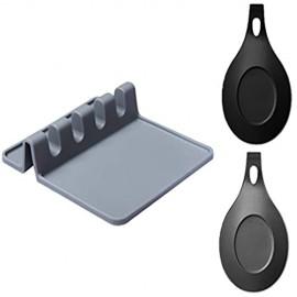 OBSGUMU Größer Silikon Kochlöffelablage 3er-Set 2 Stück Flexibler Kochlöffelablage und Küchenutensilablage für Küchenutensilienhalter für Löffel Schöpflöffel Zangen-Küchen Gadgets
