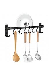 OIZEN Hakenleiste Küchenreling Hängeleiste Küchenutensilienhalter Pfannehalter Tassenhalter mit 6 Haken Küchenhelfer Kochzubehör Küchenutensilien Aluminium 40cm