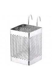 OUNONA Besteckkorb Besteckhalter mit Haken Küchenutensilienhalter Edelstahl Besteckköcher für Küche Koche Geschirr (Silber)