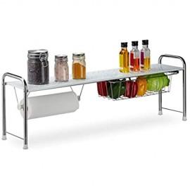 Relaxdays Spülbeckenregal mit Küchenrollenhalter Küchenregal mit Korb Metall H x B x T: 32 x 94 x 23 cm weiß/silber