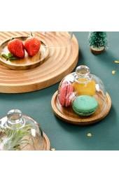 Cabilock 1 Set Kuchenständer Glas Käseglocke mit Bambus Teller Torten Glashaube Glasglocke Kuchenglocke Tortenglocke Lebensmittel Haube Abdeckung Deckel Kuchen Abdeckhaube für Essen Cover