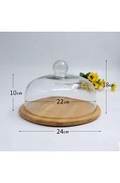 DUDDP Glasglocke Glasser Server Home Dessert-Tabelle 6-11Cinch Klare Glaskuppel Lebensmittelkonservierungsabdeckung Massivholz Gebäcktablett Fruchtkuchen Brotanzeige Standkuchenständer