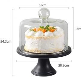 DUDDP Glasglocke Glasserver 8-Zoll-Kuchenplatte klassisches schwarzes Porzellan-Servierplatten-Party-Dessert-Tablett Glas-Sandwich-Kuppel-Haushaltsmittel-Nahrungsmittel-Konservierungs-Cover-Kuchenstä