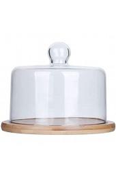 DUDDP Glasglocke Glasserver Holzplatte mit Deckel Café Obst Gebäck Fach Glas Staubkuppel Home Sandwich Brotkonservierungsabdeckung Chip & Dip Server Kuchenständer (Size : 21 * 21 * 10CM)