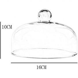 DUDDP Glasglocke Glasserver Western Restaurant Kuppel einfache Heimatbuffet Kuppel Transparente Glasabdeckung Gemüse Frische Abdeckung Burger Milk Kuchenständer (Size : 16 * 16 * 10CM)