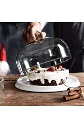 DUDDP Glasglocke Kuchenglasserver Fruchtkuppel Home Salat Käse Kuppel Ceramic Dessert Brotplatte Hotel Donut Tray Chip & Dip Server Kuchenständer (Color : B Size : 21.5 * 21.5 * 15CM)