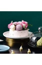 DUDDP Glasglocke Kuchenständer Keramikkuchenpfanne mit Deckel Porzellan servierter Platte Glas Staubkuppel Kuchen Käse Salat Kuppel Chip & Dip Server 6/8/10 Zoll Bandejas para Pastellee