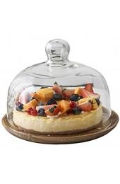 Kreative Einfachheit Kuchenplatte mit Glasdeckel Holzdessert Obsttablett Küche Donut Salat Kuppel Glas Lebensmittelkonservierung Abdeckung Chip U0026 Amp; Dip Server lsxysp 10 Zoll 10 Zoll