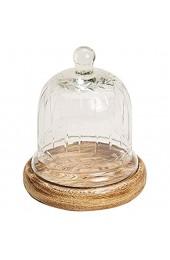 ToCi Glasglocke auf Mangoholz-Teller Glashaube Glaskuppel Deko Glasdom Party Hochzeit Dekoration 15cm