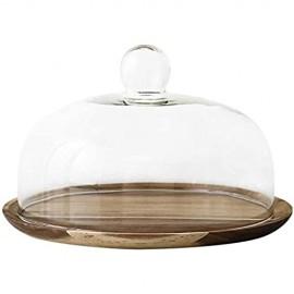 Tortenplatte Geschirrsteak-Platte Glaskuppel Küchennahrungsmittel-Konservierungs-Cover-Hölzerne Dessert-Steak-Platte Hotel-Sandwich-Tablett-Chip- und Dip-Server 6/8 / 10-Zoll-Salatplatte LQHZWYC