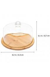 YARNOW Glasglocke Kuchenglocke Glas- Haube Käseglocke mit Bambus Teller Tortenplatte Haube Servierplatte mit Glashaube Holz Käseplatte Käse- Brett Kuchen Abdeckung Kuchenglocke
