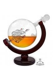 FORYOU24 Globus Whiskey Karaffe Glas Dekanter mit Ständer aus Holz I Whisky Karaffe luftdicht mit eingearbeitetem Segelschiff I Frauen- und Männergeschenke edel I 850 ml Globus Flasche Vintage