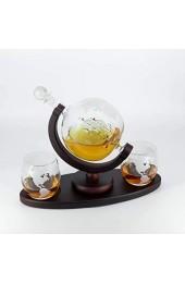 Globus Whisky Karaffe 1050ML   Whisky Geschenkset mit längerem Sockel   Dunkler Mahagoni Holzhalter   Whisky Dekanter mit Trichter und 2 Gläsern   Geschenk Mann Vater Geschenk