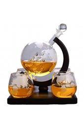 HELOVS Geätzte Weltkarte Karaffe Brandy Whiskey Globus Set mit 4 geätzten Whiskygläsern – für Likör Scotch Bourbon Wodka – 850 ml kreatives Weinset tolles Geschenk