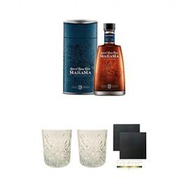 Marama Fidschi Spiced 0 7 Liter + Rum Glas 1 Stück + Rum Glas 1 Stück + Schiefer Glasuntersetzer eckig ca. 9 5 cm Ø 2 Stück