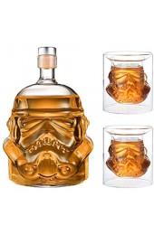Transparent Creative Whisky Dekanter Whisky Karaffe für Whisky Wodka und Wein 1 * Stormtrooper Flasche (750 ml) & Stormtrooper 2 Gläser (8 5 x 9 5 x 9 cm)