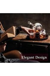 Whisky Karaffe Globus für Alkohol - Whiskey Decanter Bar Set mit Gläser Holzständer und Weltkarte - Geschenke für Männer und Frauen - Glas Flasche Zubehör für Gin Rum Scotch Likör Bourbon Wodka