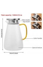 1 5 L Glaswasserkrug mit Deckel ANBET-Borosilikatglaskrug Glaskaraffe mit Griff und Filter für heißes/kaltes Wasser Eistee Wein Kaffee und Saft