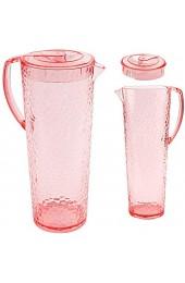 alles-meine.de GmbH große Kanne / Krug / Getränkespender - mit Deckel - rosa / pink / Rose - 1 2 Liter - Glas Optik - bunt - Karaffe Wasserkrug / Getränkekrug - Saftkanne - aus K..