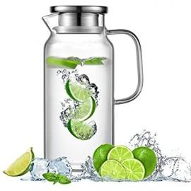 Ehugos Glaskaraffe 1.8L Wasserkrug aus Borosilikatglas Wasserkaraffe mit Edelstahl Deckel Glaskrug