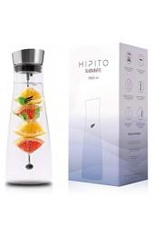 HIPITO Glaskaraffe [1 5 L] - Elegante Design Wasserkaraffe aus Borosilikatglas mit Fruchtspieß und mattem Edelstahldeckel