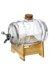 KADAX Fass mit Hahn fassförmiger Getränkespender aus Glas 1-3L Fass mit Zapfhahn transparenter Spender mit Holzuntersatz Alkoholspender ideal für Whisky Brandy Säfte Limonade (1 5L)