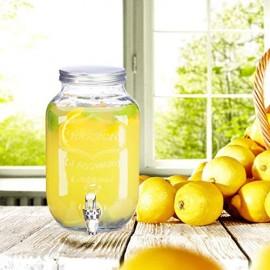 Relaxdays Getränkespender 3 5 l Glas Zapfhahn Retro Saftspender Gastro Vintage Limonadenspender Gartenparty klar