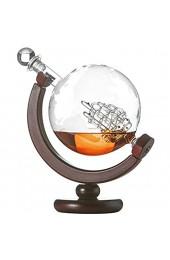Weltkugel Dekanter aus Glas mit Segelschiff Globus mit gravierter Weltkarte Karaffe mit Holzständer Whisky Flasche mit luftdichtem Verschluss 850ml Geschenkidee Geburtstag Weihnachten