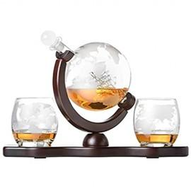 Whiskyset Glas-Karaffe Globus Segelschiff mit gravierter Weltkarte 2 Whiskygläser und Holz-Tablett Whisky Flasche mit luftdichtem Verschluss Decanter 850ml Geschenkidee für Männer