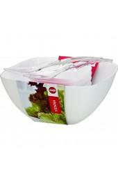 Emsa 512766 Salatschalen (Set mit Salatbesteck 4.6 Liter und 0.6 Liter Vienna) weiß