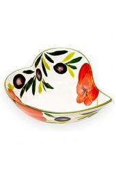 Lashuma Keramik Antipastischale Obstschüssel Herzförmig Küchenschüssel Bemalt Tomate - Olive Größe 17 x 19 cm