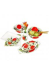 Lashuma Kleine Keramikschale Flache Servierschüssel Handbemalt mit Oliven - Tomaten Obstschale Größe 27 x 13 cm