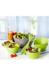Unbekannt Bambusschalenset 7tlg. Salatschüssel Schalen Salatbesteck aus Bambus grün NEU