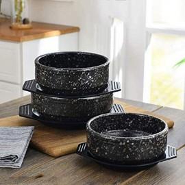 Keramik Dolsot koreanische Kochsteinschale Sizzling Hot Pot für Bibimbap Premium-Suppenschüssel ohne Deckel perfekt für Zuhause oder Restaurant Schwarz 800 ml