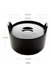 Sywlwxkq Keramik-Suppenschüsseln mit Griff 530 ml Verbrühungsschutz im japanischen Stil mit Doppelohr-Instantnudeln Nudeln Mikrowelle-Schwarz