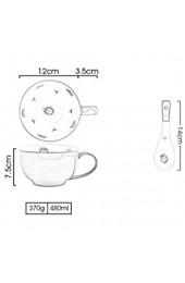 Sywlwxkq Suppenschüssel mit Griff Frühstück nach japanischer Art 480 ml Suppentassen-Becherbecher aus China Porzellankeramik mit Deckel und Löffelofen Mikrowellengeeignete Mikrowelle sicher für milc