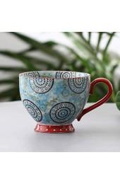 Sywlwxkq Suppenschüsseln mit Griff Keramik glasierte handbemalte Keramik mit großer Kapazität Frühstück Hafermilchbecher Mikrowelle-M-490ML