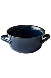 Sywlwxkq Verbrühungsfreie Suppenschüsseln mit Griff 850 ml Keramik im japanischen Stil Instant-Nudeln Frühstücksbackofen-Blau